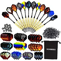 Roobeeo Soft Tip Darts 12 Pcs 18g Plastic Tip Darts Set with Brass Steel Barrels&Aluminum Shafts,200 Extra Dart Tips 42 Dart Flights 20 Extra Rubber Rings and 1 Storage Bag for Electronic Dart Board