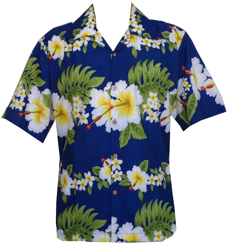 TALLA X-Large . Alvish Hawaiian Camiseta para Hombre Aloha Fiesta de impresión de Flores de Hibisco Playa Campamento