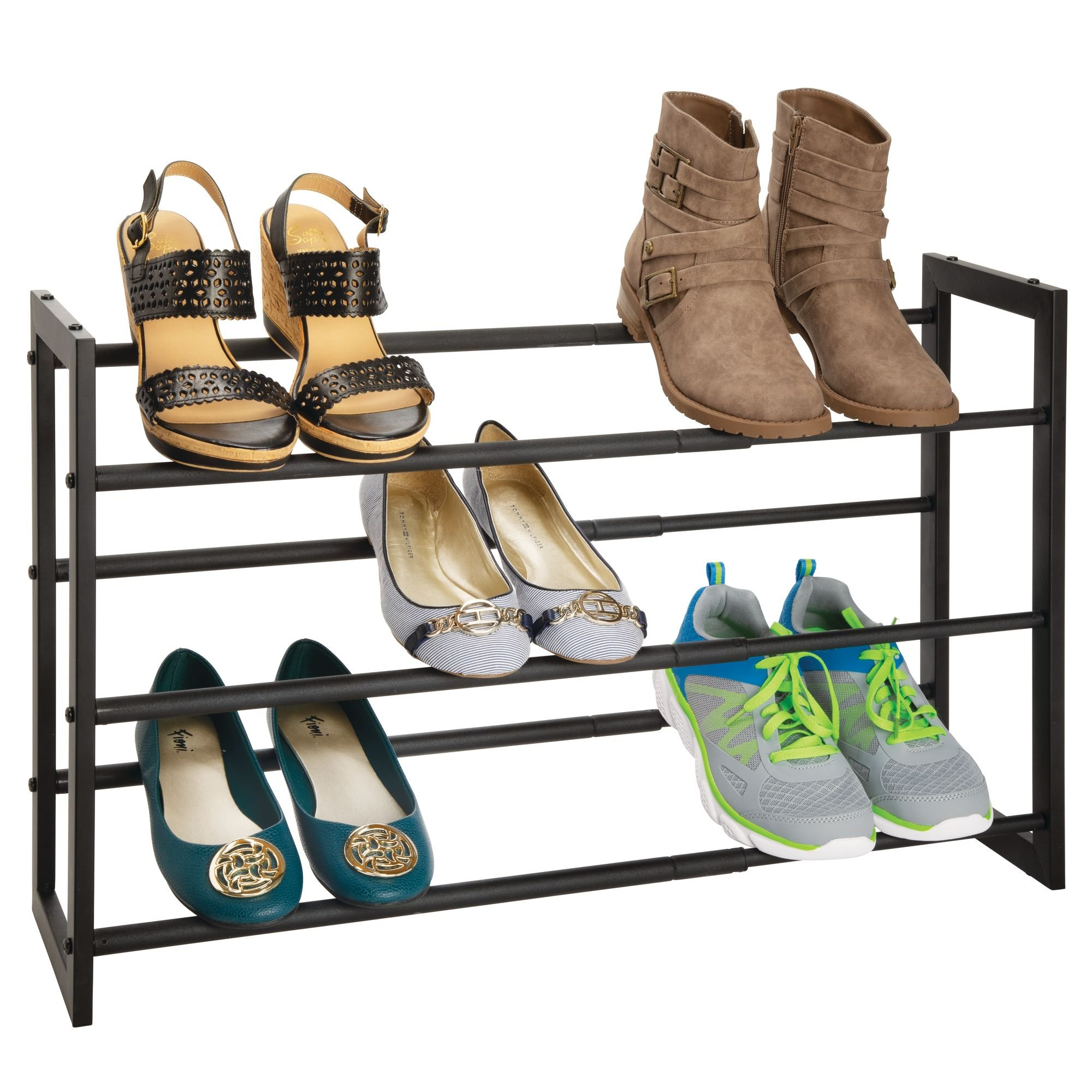 mDesign 3 Tier Adjustable/Expandable Shoe and Boot Storage Organizer Rack - Space-Saving, Angled Vertical Storage - Closets, Entryways, Mudrooms, Bedrooms, Garages - Solid Steel, Black