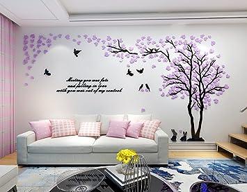 Alicemall 3D Wandtattoo Shrinkable Acryl Wandaufkleber Wand Dekoration TV  Sofa Hintergrund Deko Stereo Sticker Lila Blätter