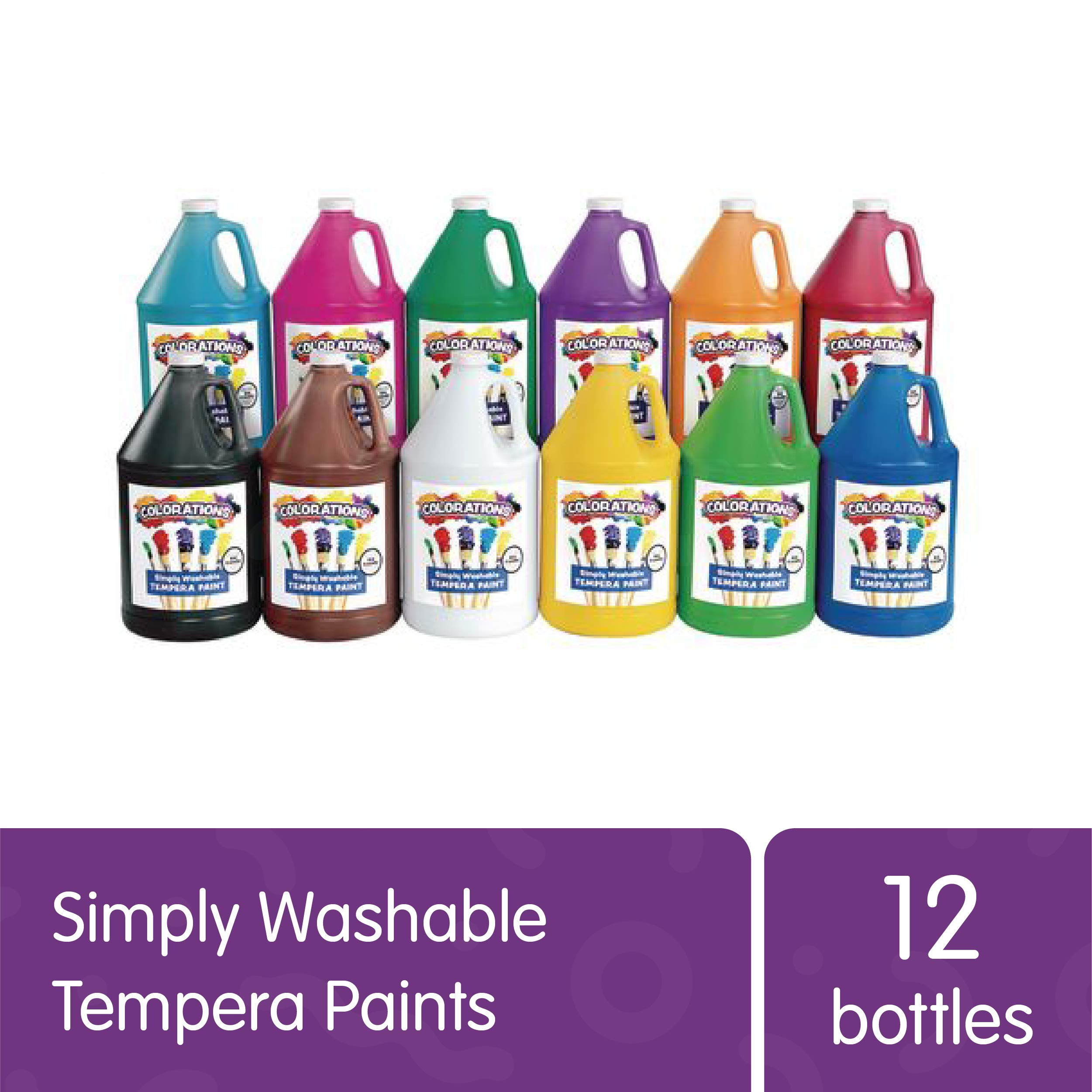 Colorations Washable Tempera Paint, Gallon Size, Set of 12 Colors, Non Toxic, Vibrant, Bold, Kids Paint, Craft, Hobby, Fun, Art Supplies, Paint Set (Item # SWTGAL) by Colorations