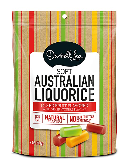 Soft Australian Mixed Fruit Licorice - Darrell Lea 7oz Bag - NON-GMO, NO HFCS, Vegetarian & Kosher - America's #1 Soft Eating Licorice Brand!