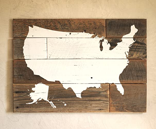 Amazoncom USA Map On Barn Wood No State Lines US Wood Map - Us map with state lines