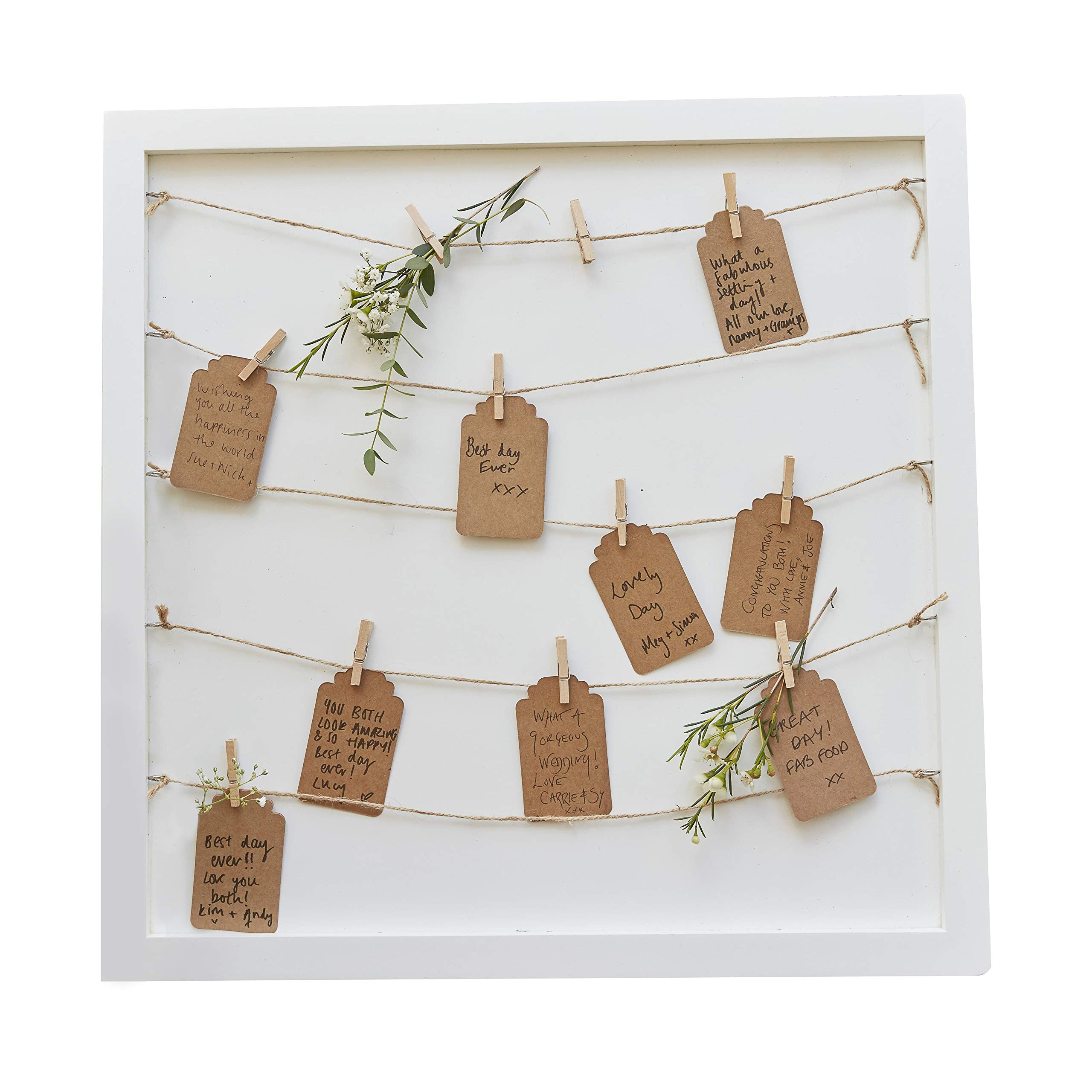 Ginger Ray Wooden Frame with Pegs, String & Tags to Hang Notecards & Photos - Alternative Guest Book for Weddings, Baby Shower & Bridal Shower Party