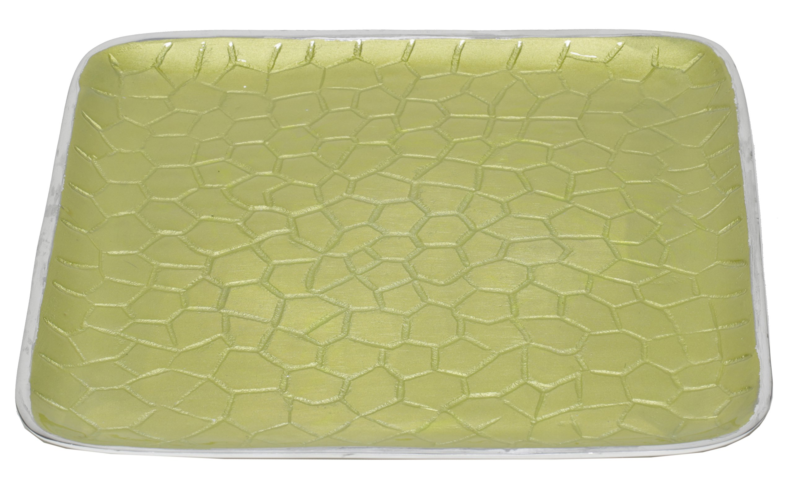 Artisan d'Orient Classic 8'' Square Tray, Color - Lime, Set of 4