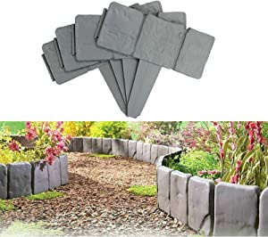 YSISLY Lawn Fence Stone Effect Edging Interlock Flower Bed Border Grass Edge Imitation Garden Decoration Fence Plant Bordering (10,Grey)