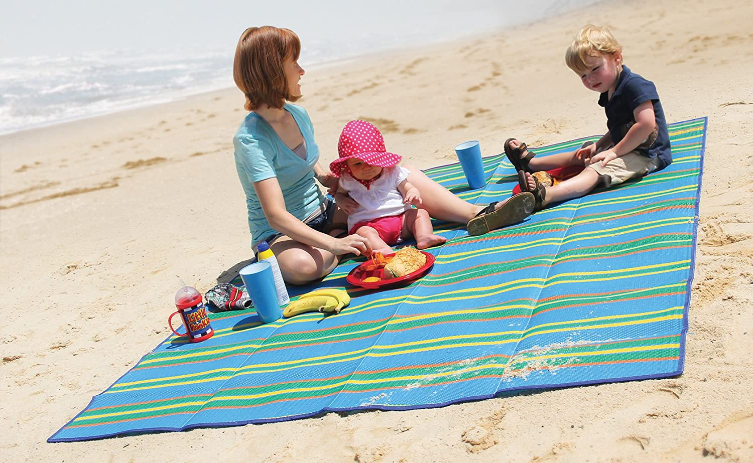 RV and Outings Camco Handy Mat with Strap Weather-Proof and Mold- Mildew Resistant Perfect for Picnics Beaches Blue//Green - 60 x 78