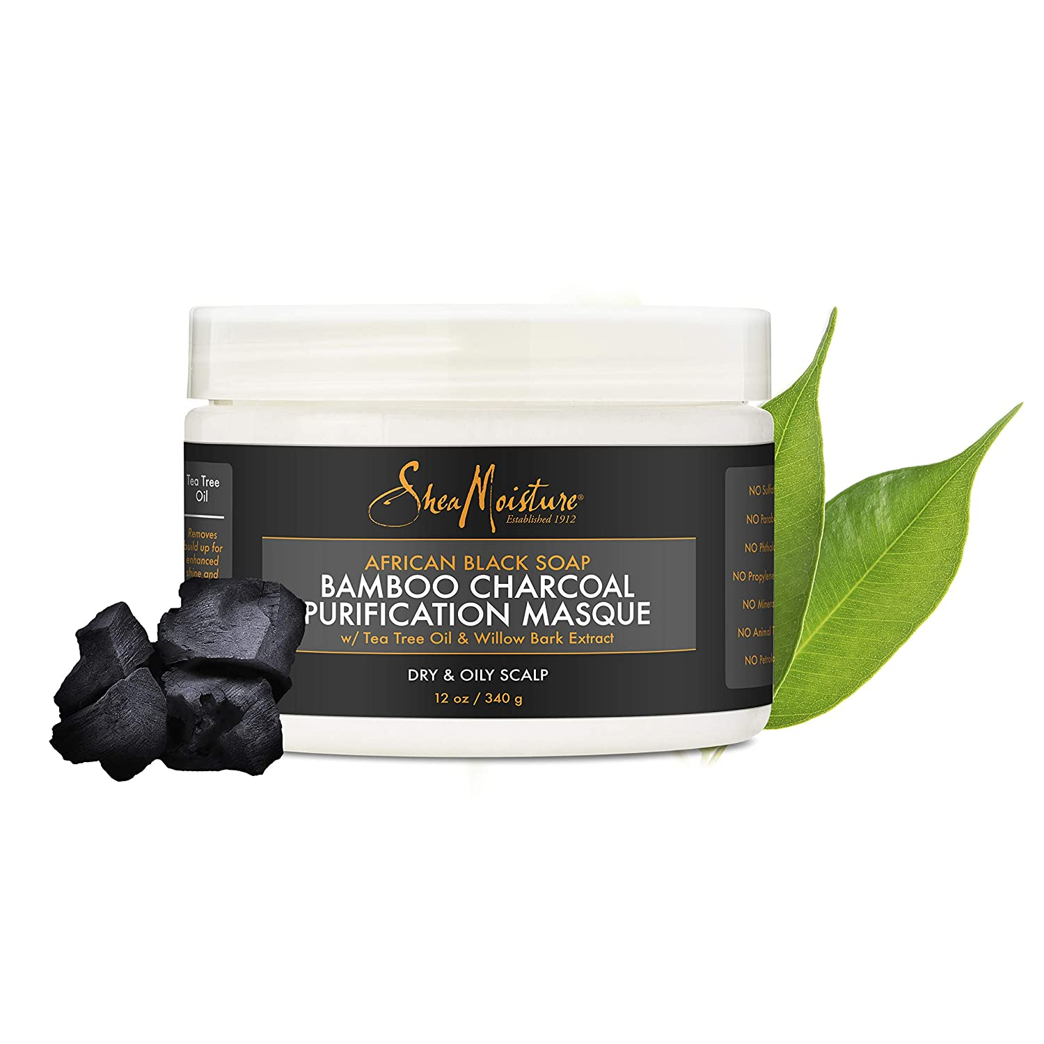 SheaMoisture African Black Soap Bamboo Charcoal Purification Masque Hair Treatment, 12 Ounce