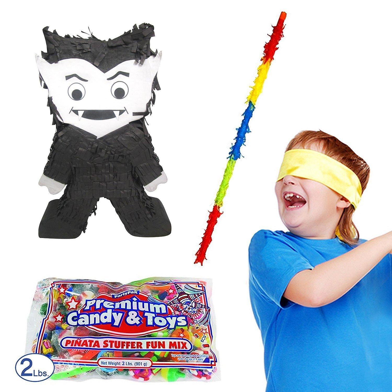 Pinatas Halloween Vampire Pinata Kit, Including Pinata, Buster Stick, Bandana, 2 lbs. Candy Filler
