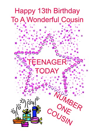 cousin 13 birthday card girl