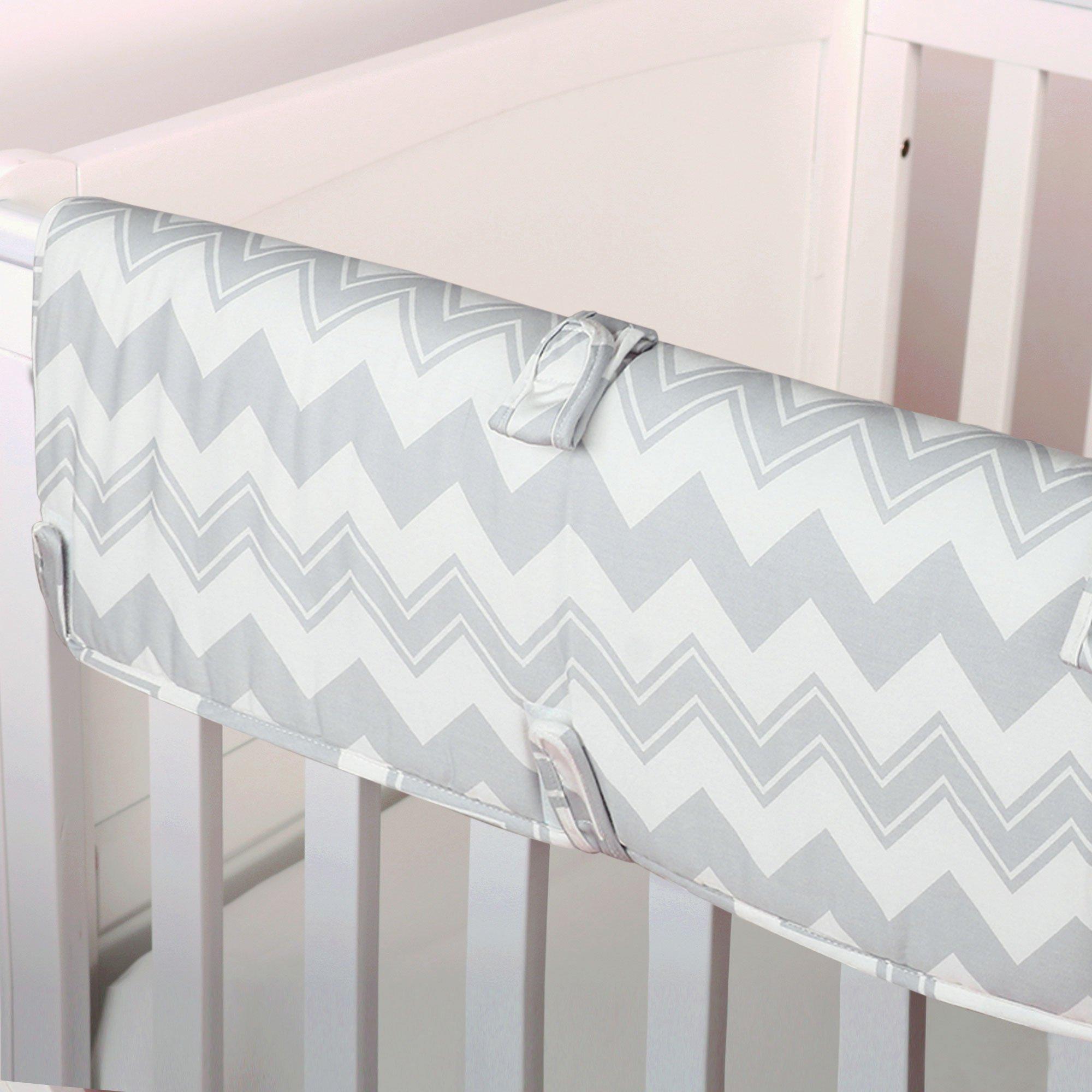 Grey Zig Zag Print 100% Cotton Padded Crib Rail Guard by The Peanut Shell by The Peanut Shell