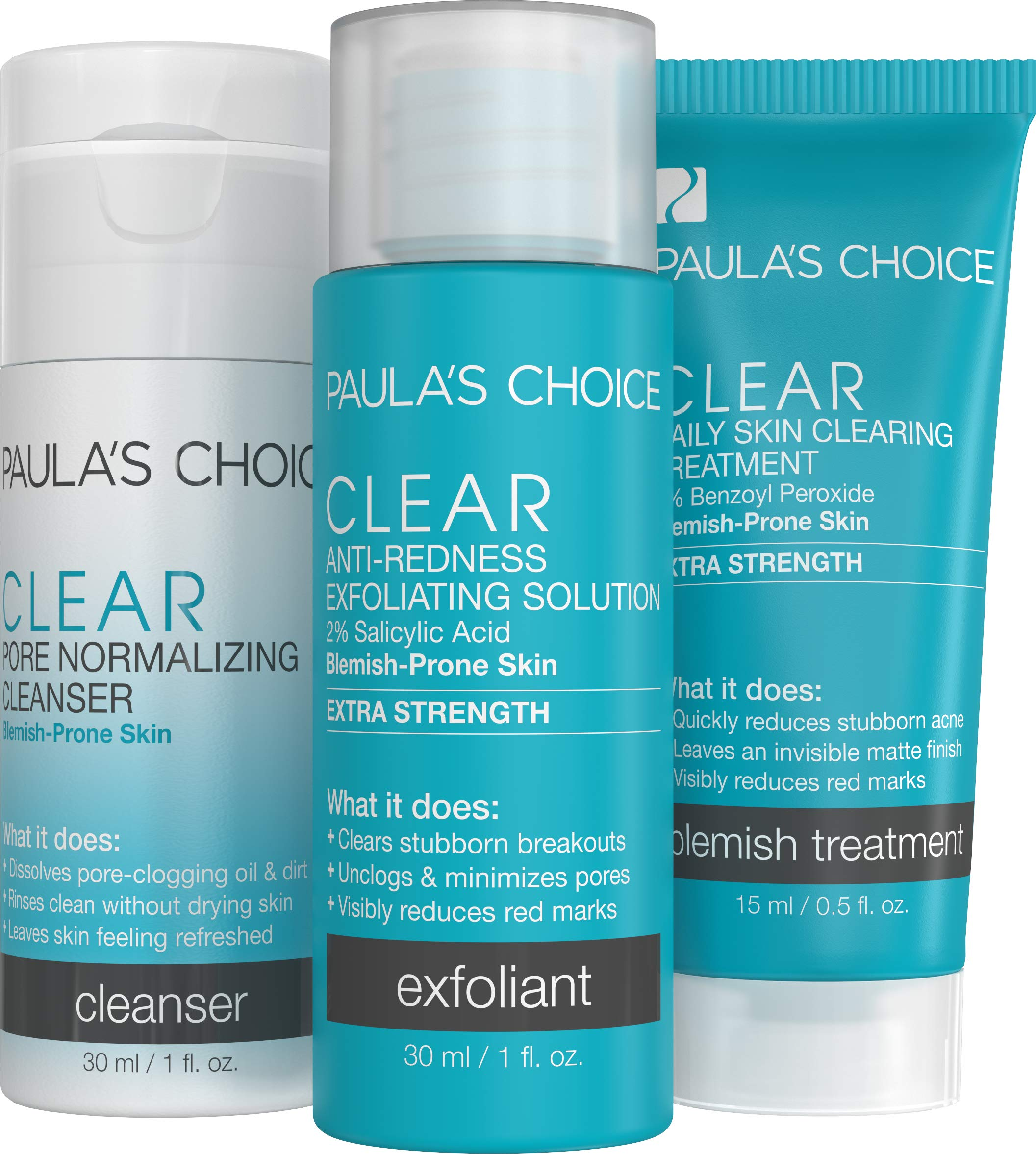 Paula's Choice CLEAR Extra Strength Acne Travel Kit, 2% Salicylic Acid & 5% Benzoyl Peroxide for Severe Acne, Redness Relief