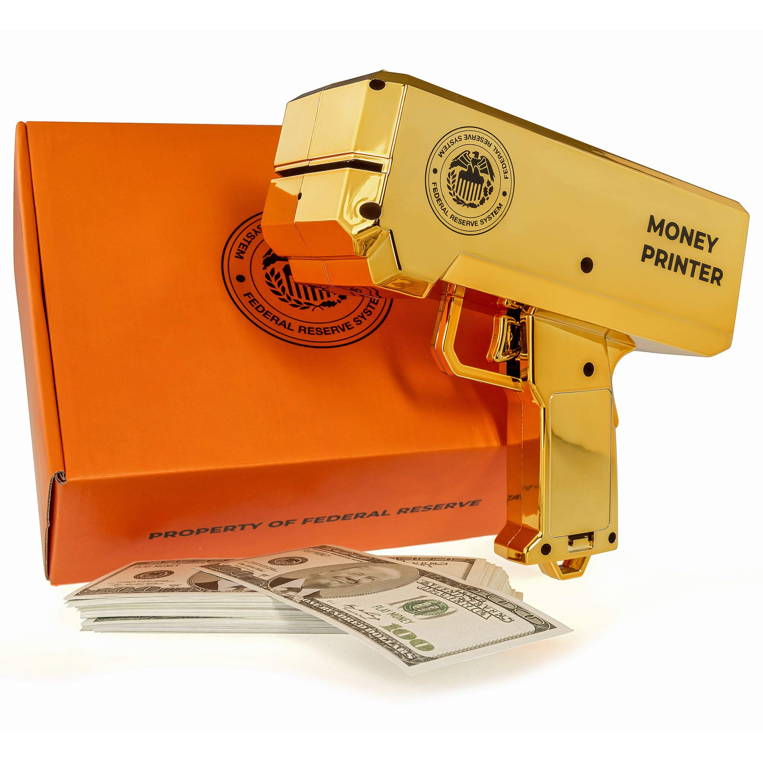 The Money Printer - Golden Money Gun with Trump Bank Notes - Shoot Prop Counterfeit Cash and Fake 100 Dollar Bills - Make It Rain Novelty Party Toy