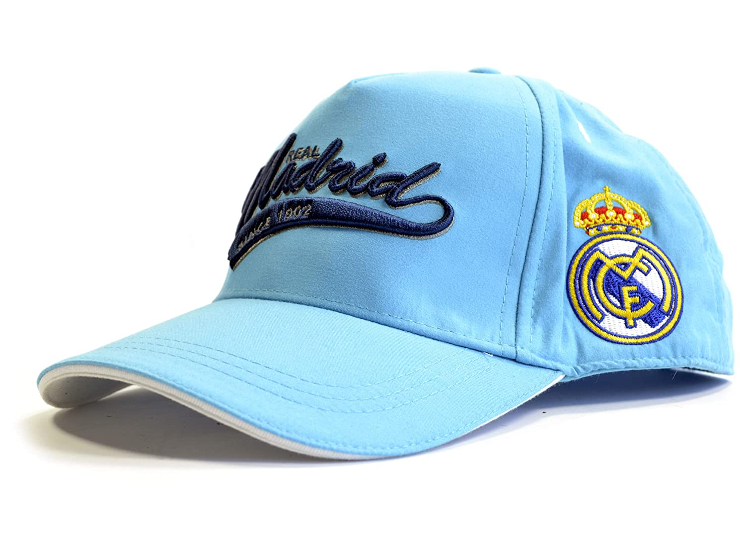 GORRA OFICIAL REAL MADRID AZUL CLARO ADULTO COTTON LIKE: Amazon.es ...
