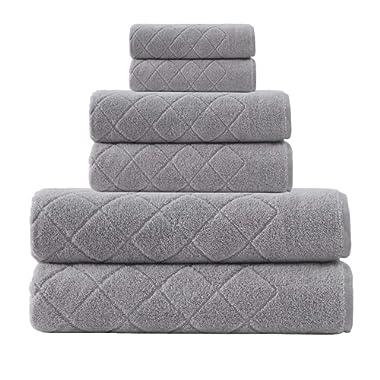 Enchante Home 6 Piece 100% Turkish Cotton Luxury Towel Set for Home, Spa & Bathroom - Quality Soft & Absorbent - Hand, Wash & Bath Towels, Jacquard, Fancy Gracious Design (Silver Gray)