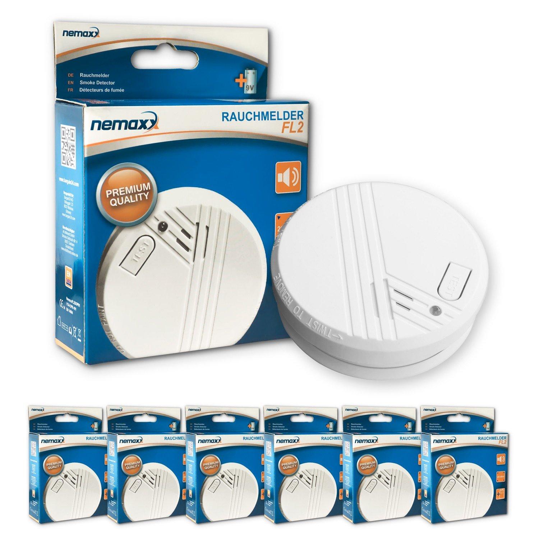 Nemaxx FL2 - Kit de detectores de humo (6 unidades, en conformidad con la normativa EN 14604)