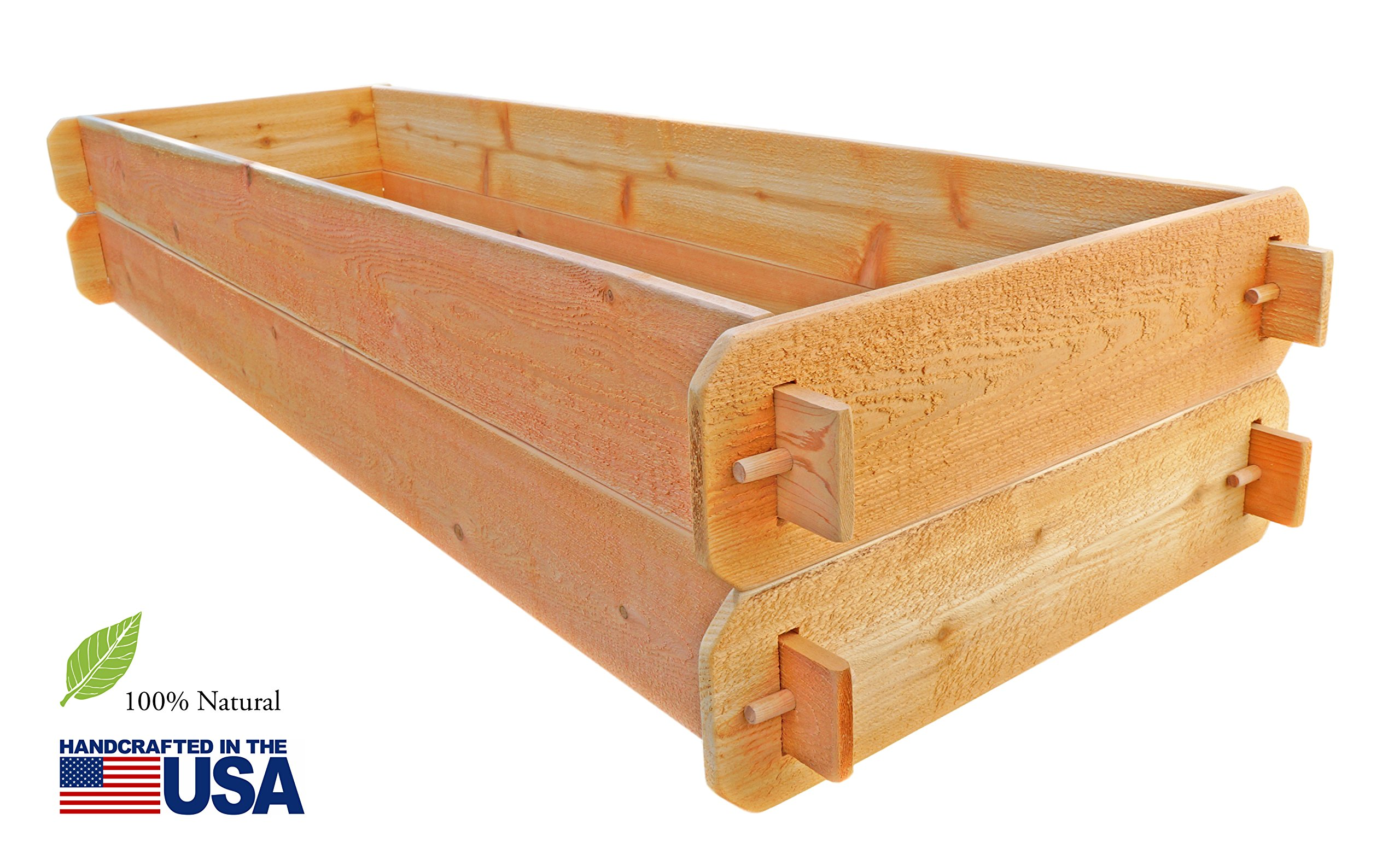 """Timberlane Gardens Raised Bed Kit Double Deep (Two) Western Red Cedar with Mortise and Tenon Joinery, 24"""" W x 72"""" L 1 <p>Raised garden bed kit dimensions: 2 feet wide x 6 feet long (6 inches deep) and 2 feet wide x 6 feet long (6 inches deep). Depth is 12 inches when stacked. 5/8"""" thick. Inner (planting) dimensions are a bit smaller due to the mortise & tenon joints. Raised Garden Bed Kit Proudly Made in Homer Glen, Illinois USA. Constructed of Select Western Red Cedar. Aromatic and Naturally Insect & Rot Resistant. Handcrafted Mortise & Tenon Joinery. The Strongest Corner Joints Available. Easy to Assemble in Seconds, No Tools Required. Perfect for a Children's Garden. Splinter Free. 100% Natural and Chemical Free. Safe for Vegetables and Best for Organic Gardening.</p>"""