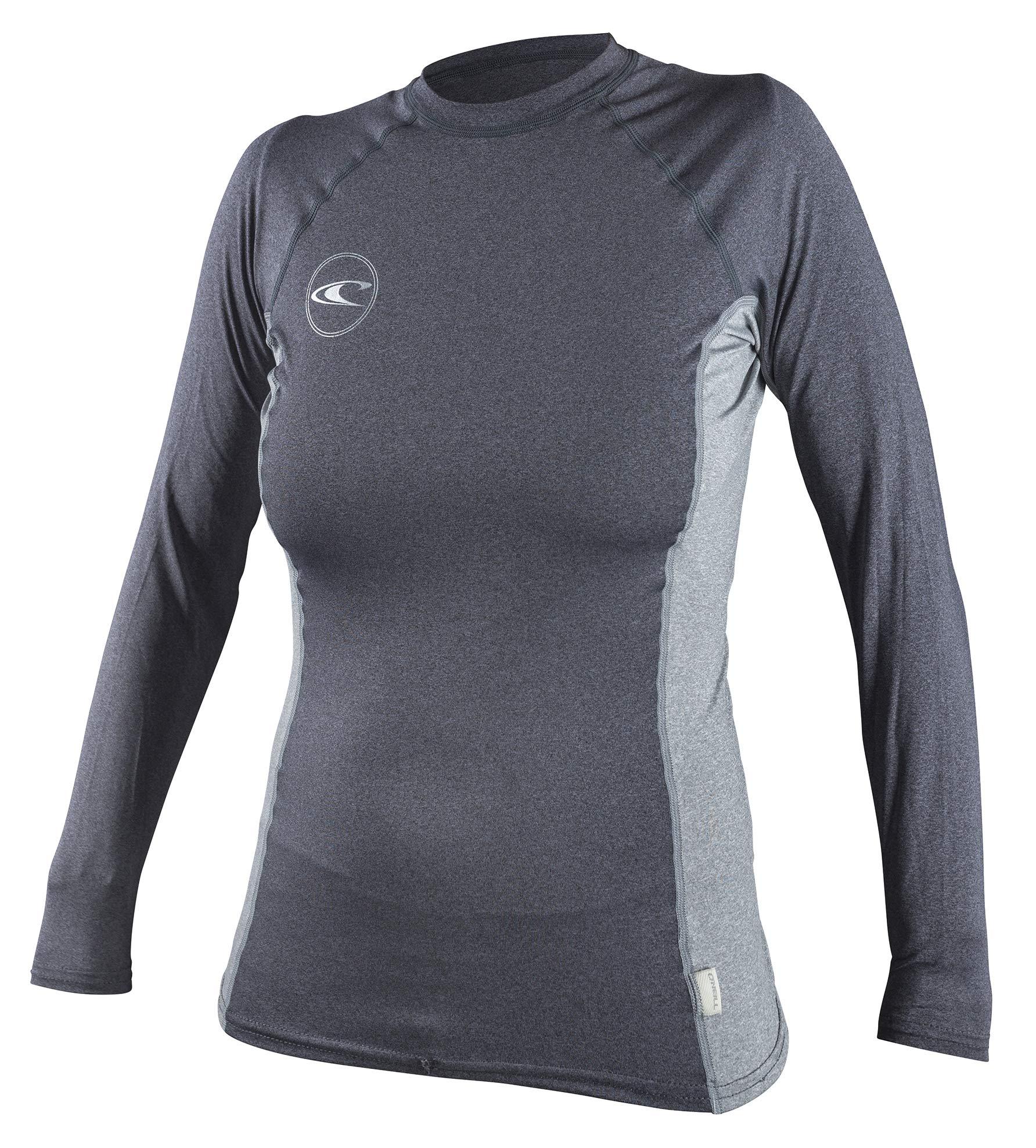 O'Neill Premium Women's Long Sleeve Crew Rashguard, XS, Slate Cool Grey Slate, X-Small