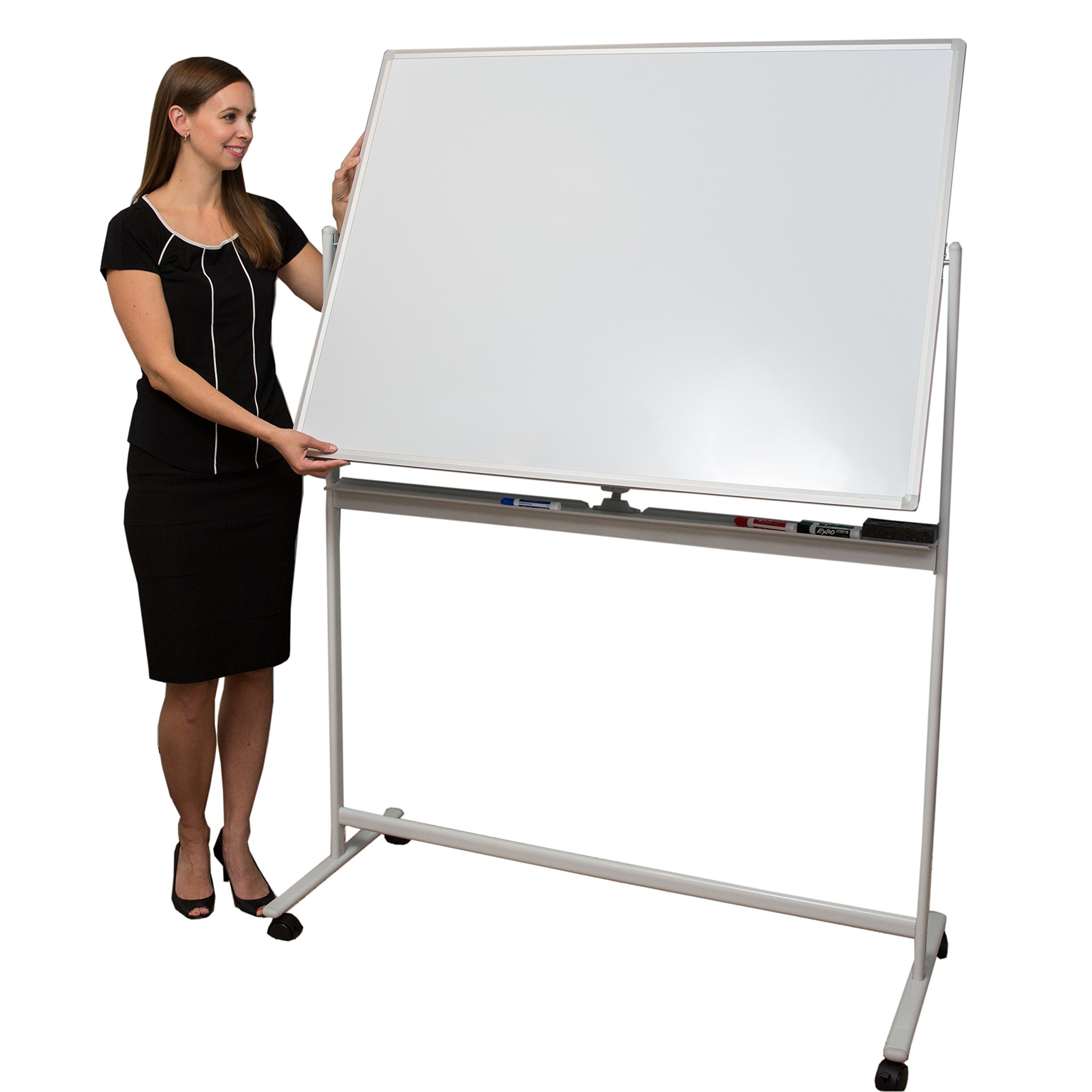 Induxpert Giant Mobile Dry Erase Magnetic Whiteboard - Double-Sided - Flip Sides Quickly With Lock/Unlock Feature - Sturdy Frame - Easy to Clean and Assemble - 47 X 36 by INDUXPERT