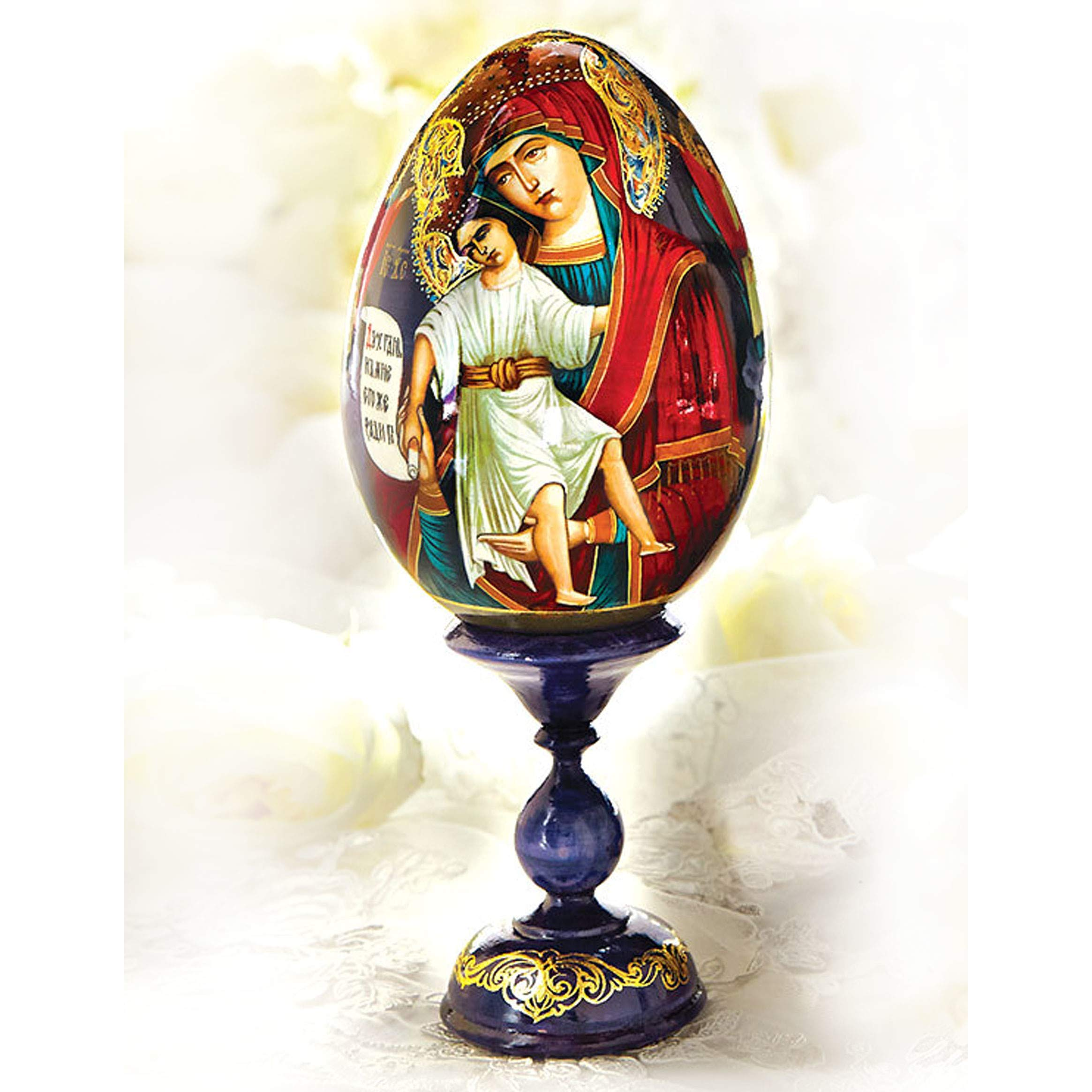 World Faith Egg Hand Painted Beautiful Russian Wooden Icon Egg with Egg Stand Holder 7-1/2 Inch Tall