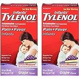 Infants fpLbBj Tylenol Pain Reliever-Fever Reducer, Oral Suspension, Grape Flavor, 1 oz (2 Pack)