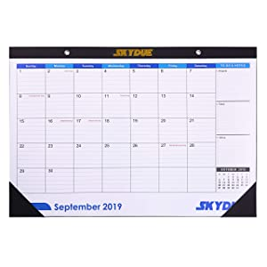SKYDUE Desk Calendar 2019-2020 - September 2019 Through December 2020-16.5x11.5 Large Wall Calendar Blotter Pads for Academic Home Office Monthly Daily Planner, to-Do List