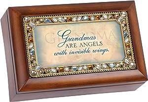 Cottage Garden Grandmas are Angels Jeweled Woodgrain Jewelry Music Box - Plays Tune Wind Beneath My Wings
