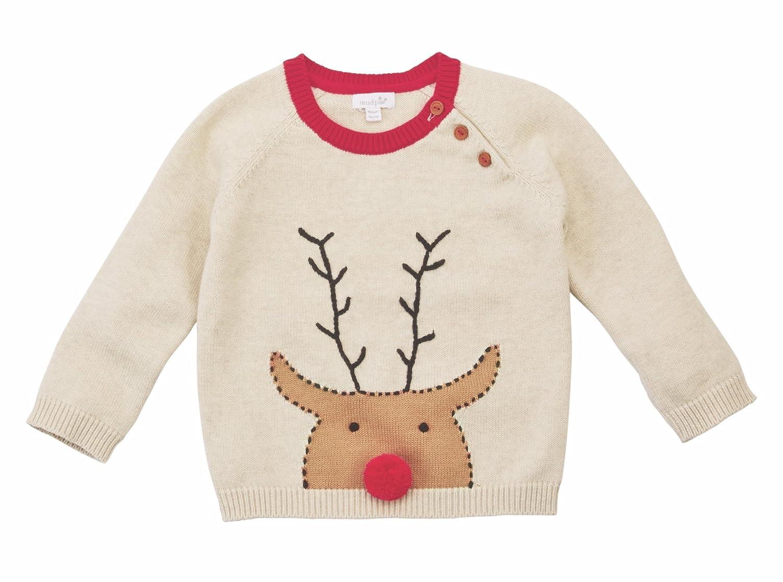 Mud Pie Boys Oatmeal Reindeer Pom Toddler Sweater 11080025