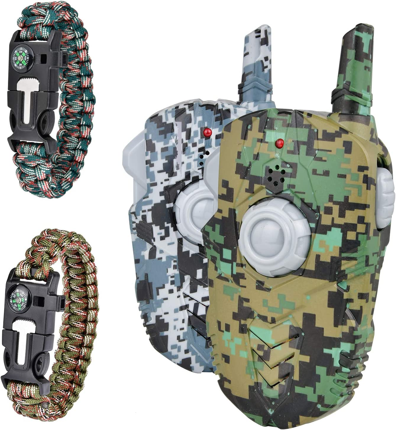 2PK Kids Walkie Talkies with 2 Pack Compass Hand Strap Channel 2Way Radio 3Miles Family Talkabout Birthday Gift Toys for Children Adult Long Range Outdoor Hiking Adventure Camping Game Camp Hunt Trip