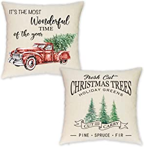HEOFEAN Christmas Pillow Covers 18x18 Inch – Set of 2 Farmhouse Christmas Throw Pillow Covers for Christmas Decor- Red Truck Christmas Decorative Pillow Covers