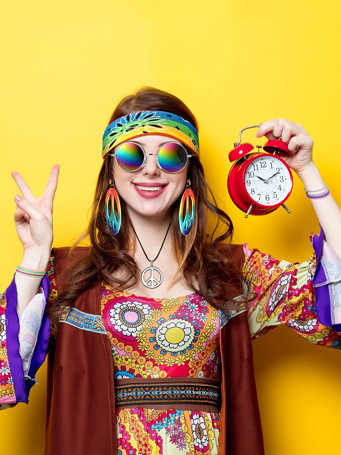 4 Pieces 70s Hippie Accessory Set Hippie Style Peace Sign Earrings Necklace Hippie Glasses Headband for Women Girls