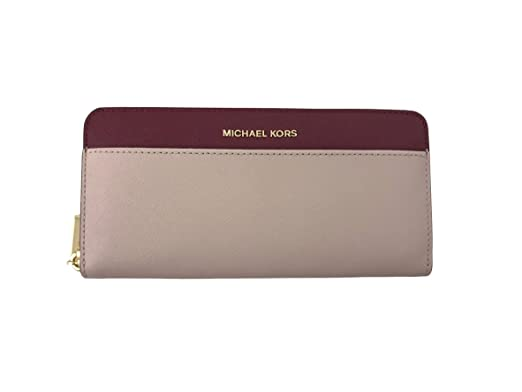 05ed9ca9bd7 ... usa michael kors money pieces pocket leather zip continental wallet in  soft pink mulberry 0b146 edd76