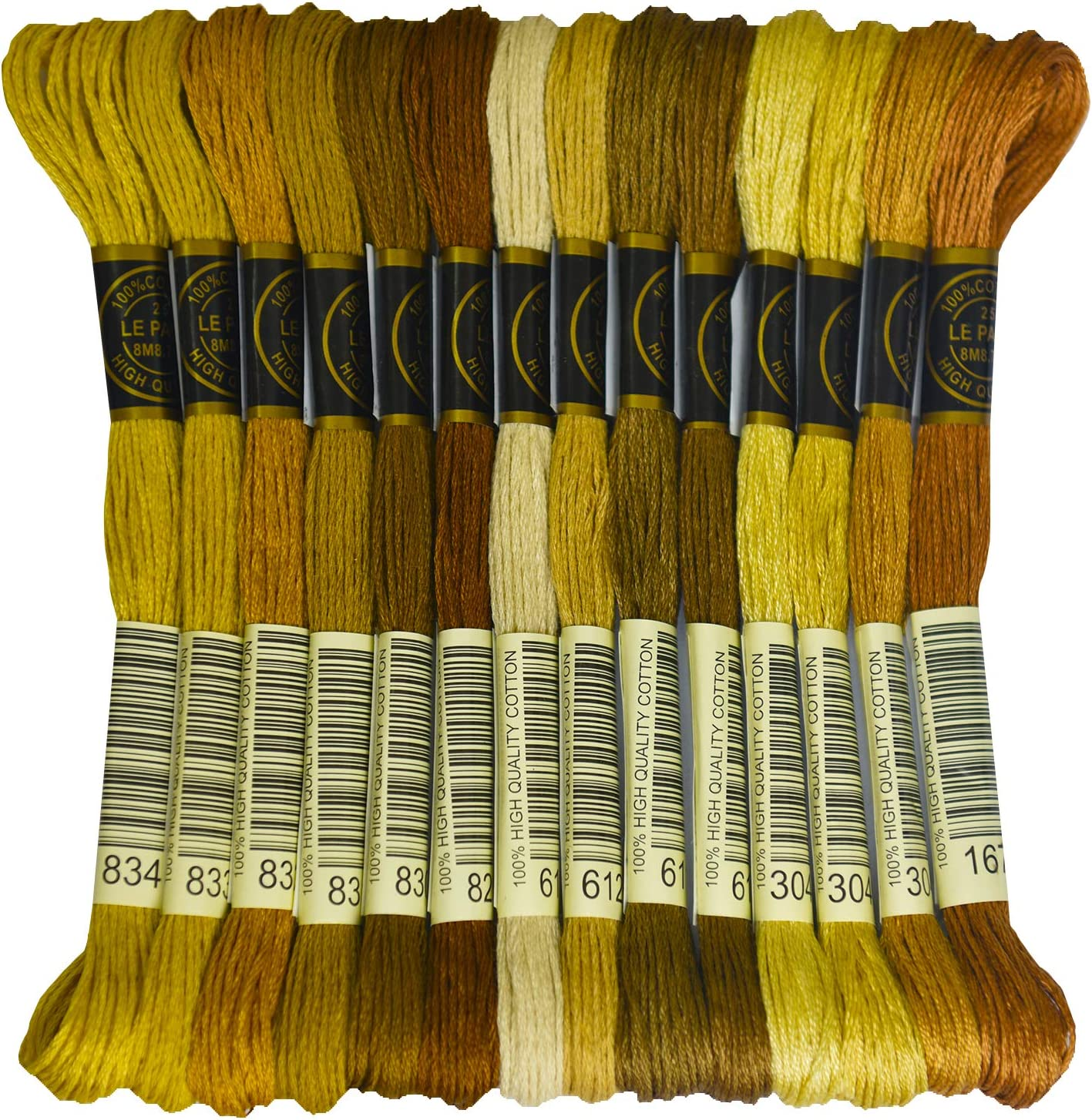 Cross Stitch Threads Premium Grey Embroidery Floss Crafts Floss- Hand Embroidery Thread 24 Skeins Per Pack and Free Set of 3Embroidery Needles and 2 Needle Threader Friendship Bracelets Floss