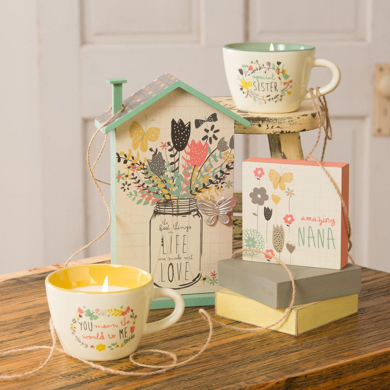Pavilion Teal Ceramic Floral Teacup Candle Pavilion Gift Company 74095 Special Sister