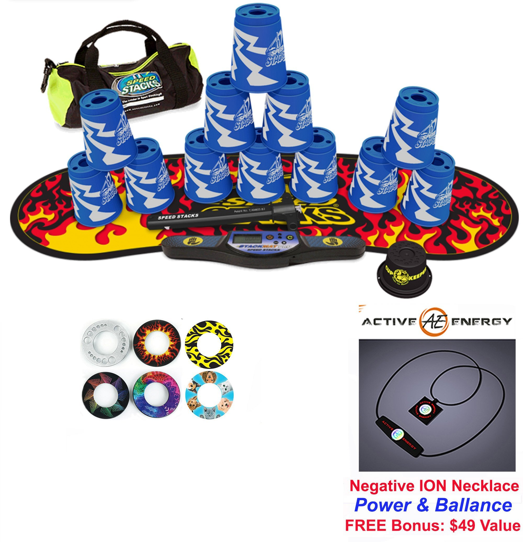 Speed Stacks Custom Combo Set - The Works: 12 ATOMIC PUNCH 4'' Cups, Cup Keeper, Quick Release Stem, Pro Timer, Gen 3 Premium Black Flame Mat, 6 Snap Tops, Gear Bag + FREE: Active Energy Necklace $49