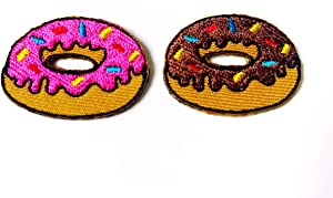 TH Small Size 2 pcs. Mini Strawberry Chocolate Doughnut Food Cartoon Patch Embroidered Sew on Iron on Patch for Backpacks Jeans Clothing etc.