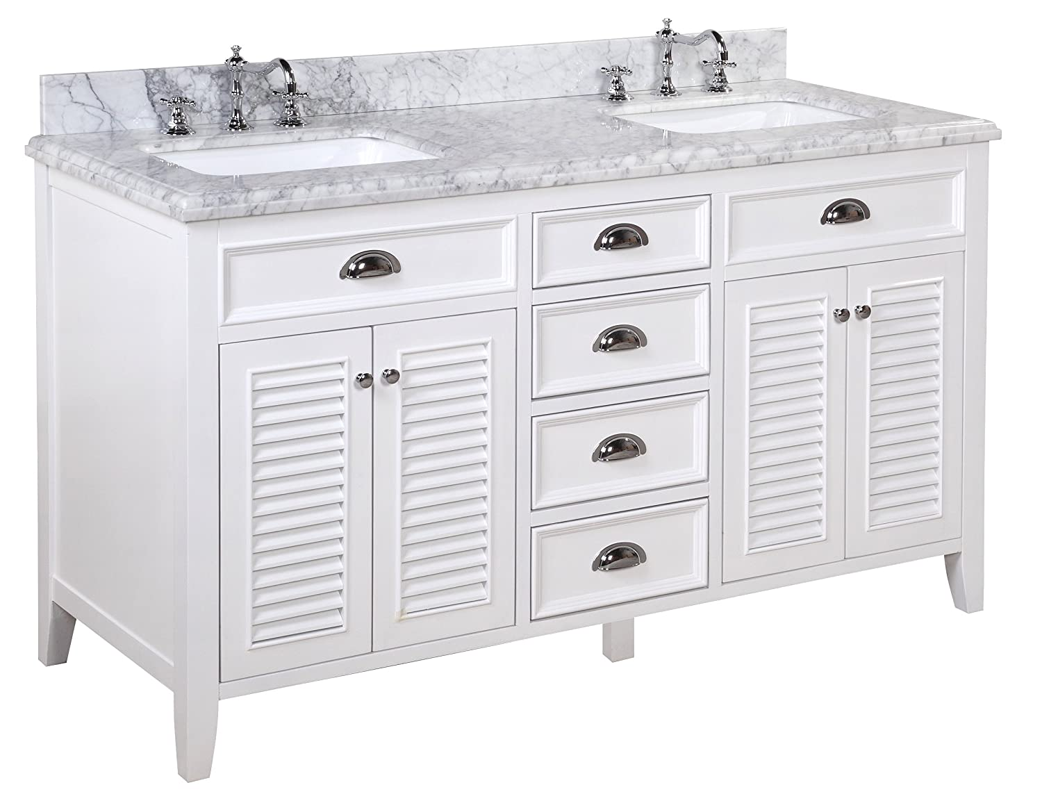 White double bathroom vanity - Kitchen Bath Collection Kbc Sh602wtcarr D Savannah Double Sink Bathroom Vanity With Marble Countertop Cabinet With Soft Close Function And Undermount