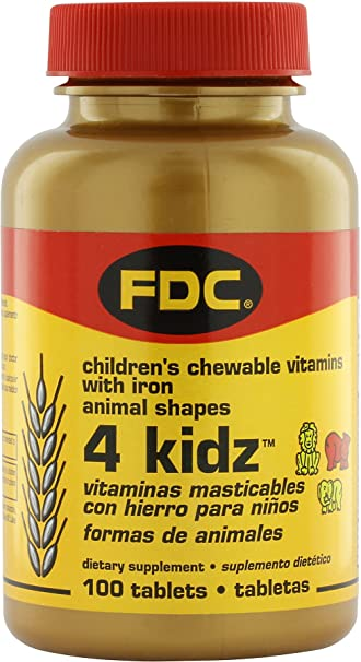 FDC Vitamins 4 Kidz Childrens Chewable Vitamins with Iron - 100 Tablets