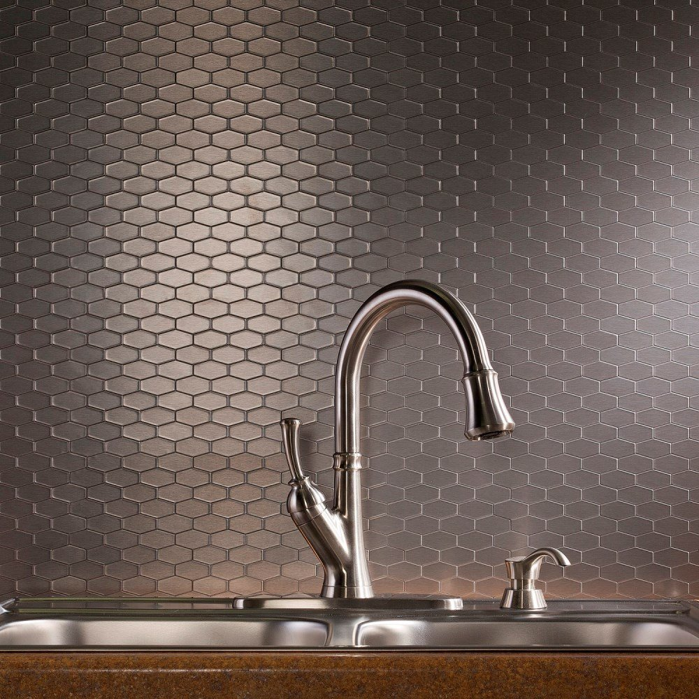 Aspect Peel and Stick Backsplash 6in x 4in Wide Hex Stainless Matted Metal Tile for Kitchen and Bathrooms (6-pack)