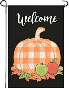 Mogarden Fall Thanksgiving Garden Flag, Double Sided, 12.5 x 18 Inches, Buffalo Check Plaid Thick Weatherproof Burlap Small Welcome Autumn Pumpkin Yard Flag