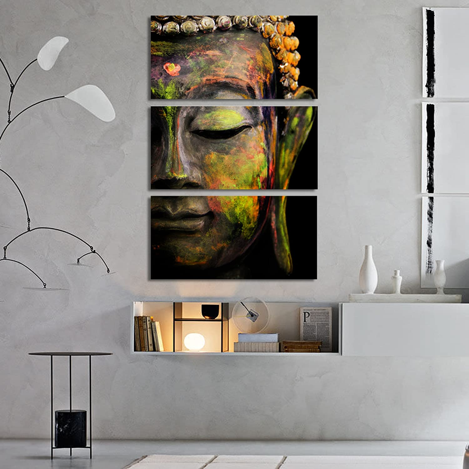 Craftter Colorful Buddha 3 Pcs Hanging Metal Wall Art Painting Home