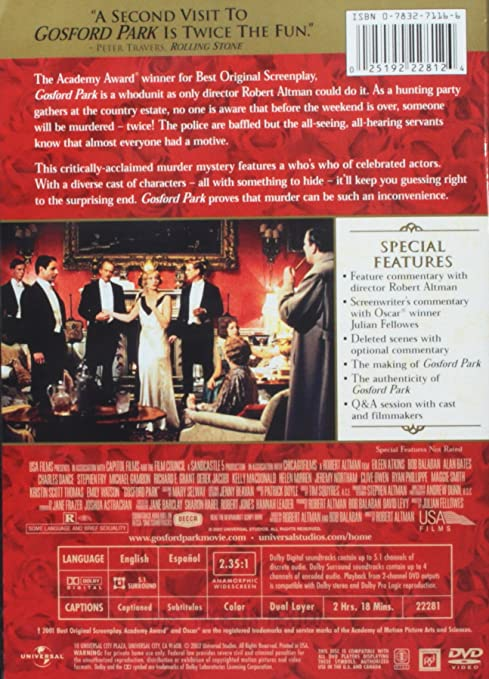 Amazoncom Gosford Park Maggie Smith Kristin Scott Thomas Robert