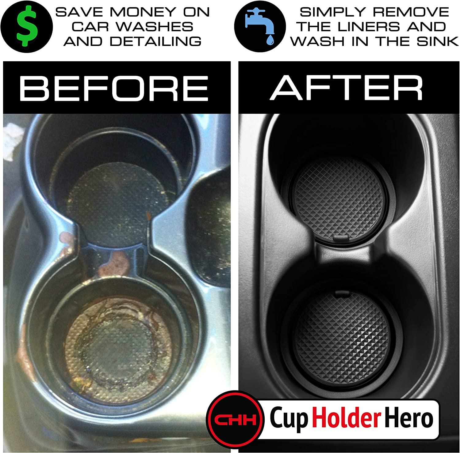Center Console Liner Mats Solid Black Door Pocket Liners 14-pc Set CupHolderHero for Chevy Equinox Accessories 2018-2021 Premium Custom Interior Non-Slip Anti Dust Cup Holder Inserts