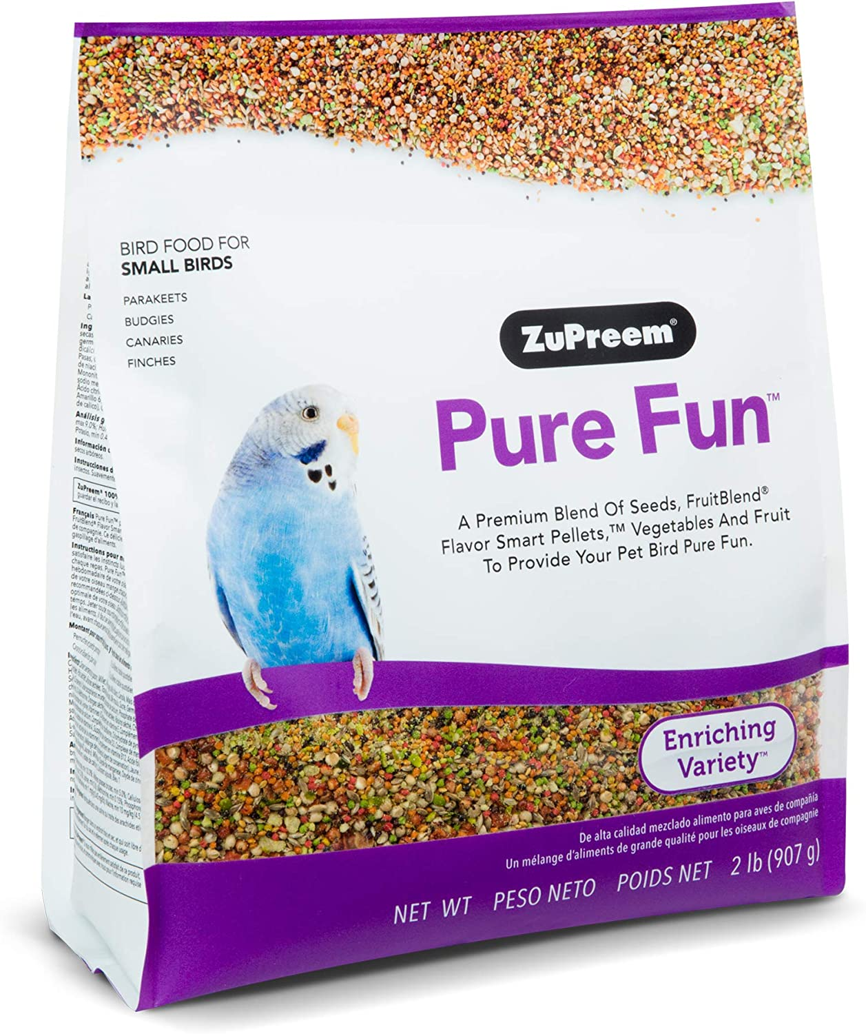 ZuPreem Pure Fun Bird Food for Small Birds, 2 lb Bag | Powerful Blend of Seeds, Natural FruitBlend Pellets, Vegetables, Fruit for Parakeets, Budgies, Parrotlets, Canaries, Finches