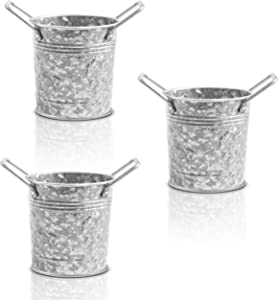 WH Galvanized Flower Plant Pots with Handles 4 inch, Set of 3 - Decorative Small Metal Bucket Planters for Wedding Party, Table Centerpiece Decorations, Home Decor by Walford Home