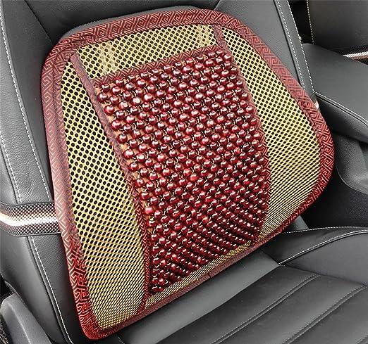 Dielian Sitzauflagen Holzkugel Sitzauflage Stuhl Massage Rückenstütze Lordosenstütze Mesh Lüften Kissen Pad Für Haus Und Auto Sport Freizeit