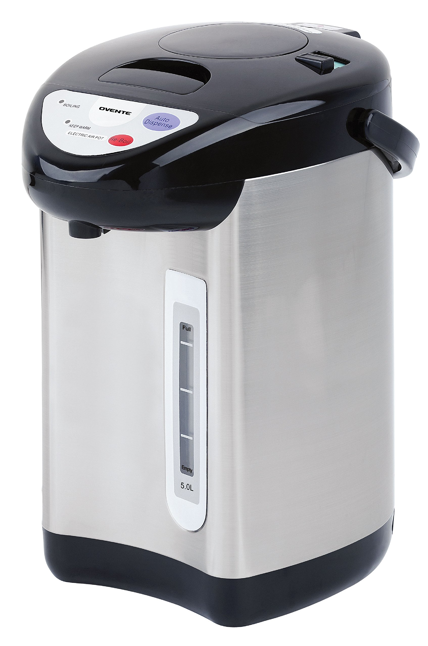 Ovente WA50S 5.0 Liter Insulated Water Dispenser with Boiler and Keep Warm Function,Black Stainless Steel