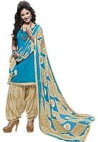 EthnicJunction Women's Cotton Dress Material for Women Patiala Style Unstitched (EJ1097-101_Sky Blue)