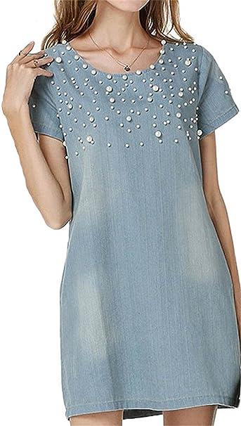 Hotsexriou New Plus Size 5XL Dress Women Jeans Sundress Womens Casual Denim Dress Vestido Summer Spring