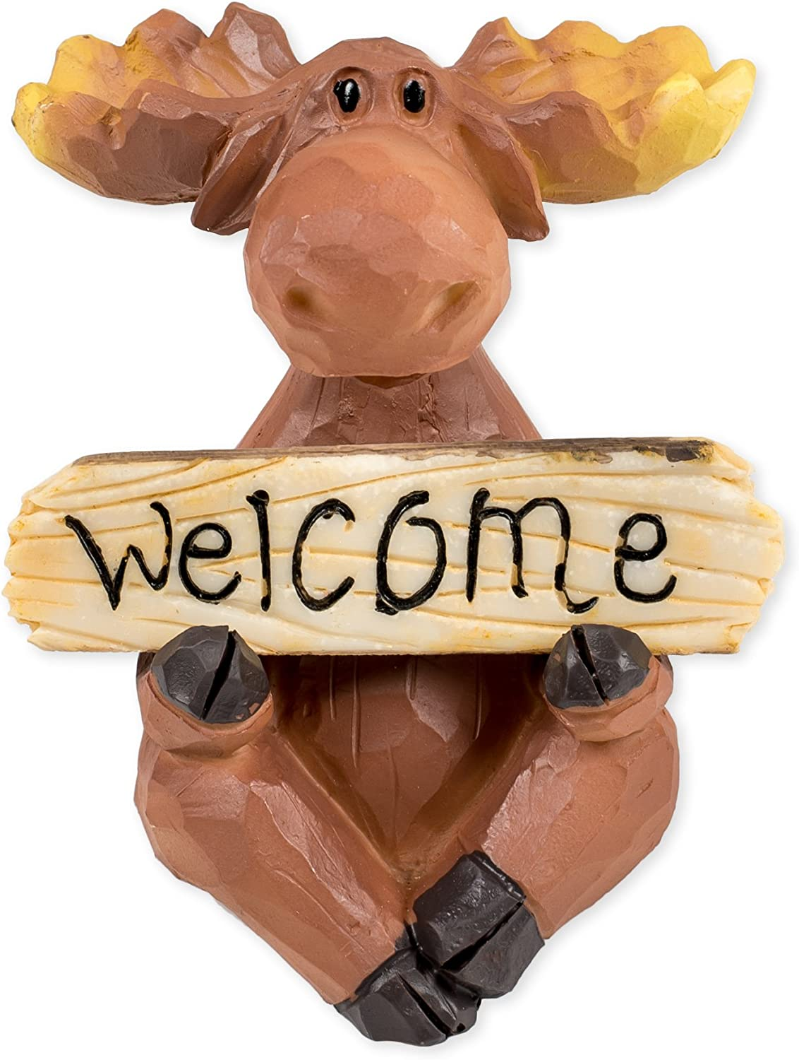 Slifka Sales Co. Moose with Welcome/Go Away Sign 3.5 x 3.5 x 4 Inch Resin Crafted Tabletop Figurine